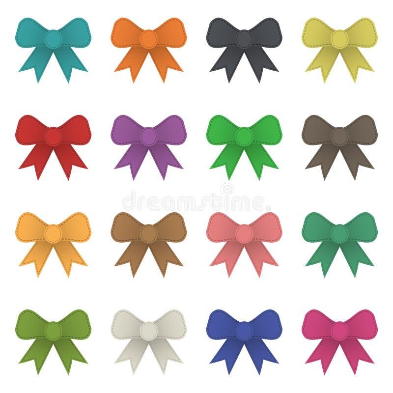 Ribbon bows. Set of isolated stitched ribbon bows, 16 variations royalty free illustration