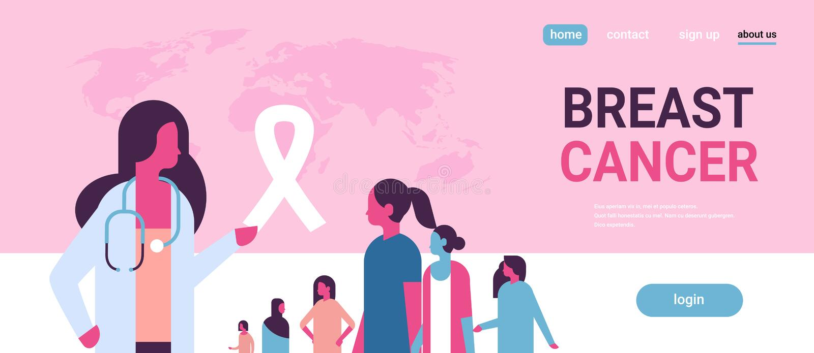 Ribbon breast cancer day mix race female doctor women consultation concept disease awareness prevention poster woman. Cartoon character horizontal copy space vector illustration