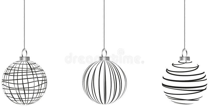 Black And White Christmas Clipart.Black White Christmas Baubles Ribbon Stock Illustrations