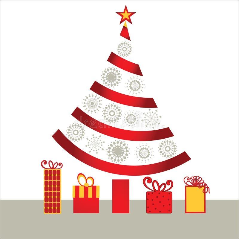 Ribbon christmas tree royalty free illustration