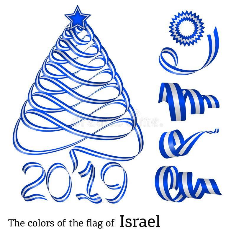 Ribbon Christmas tree colors of Israel royalty free illustration