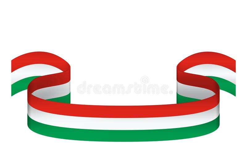 Ribbon in the colors of the flag of Hungary on white background royalty free illustration