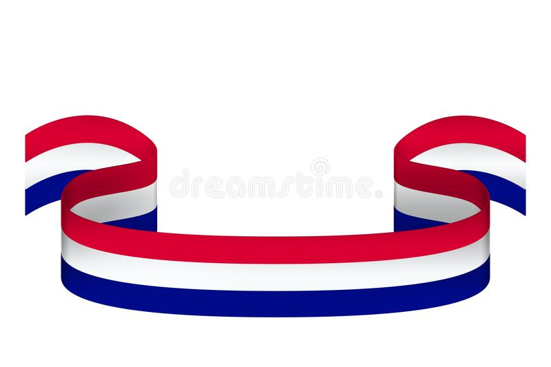 Ribbon in colors of Netherlands flag on white background with pl stock illustration