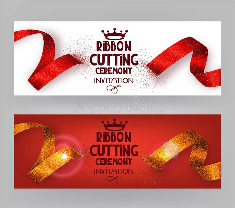 Ribbon cutting ceremony banners with abstract ribbons and abstract hand with scissors royalty free illustration