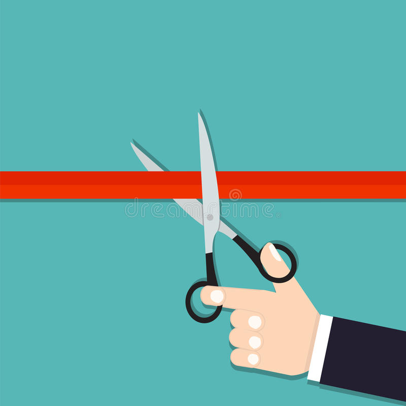 Free Ribbon Cutting. Grand Opening. Coming Soon. Scissors Cut The Red Stock Photo - 73316880