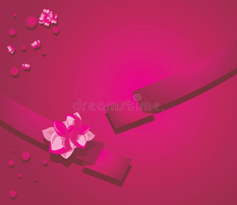 Ribbon With Flowers On The Crimson Background Stock Image