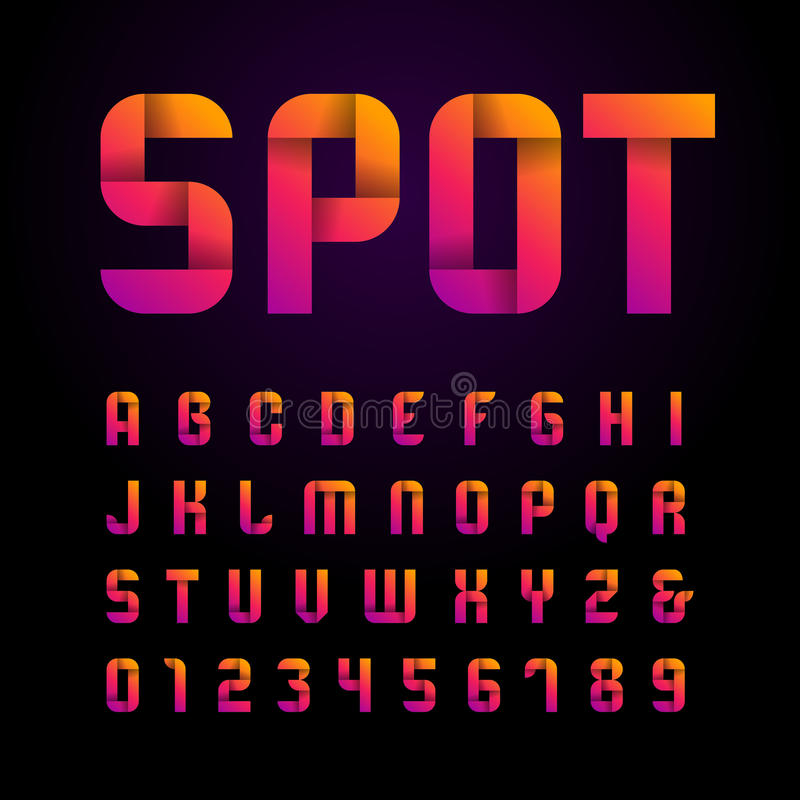 Ribbon font. Vector alphabet with latin letters and numbers. vector illustration