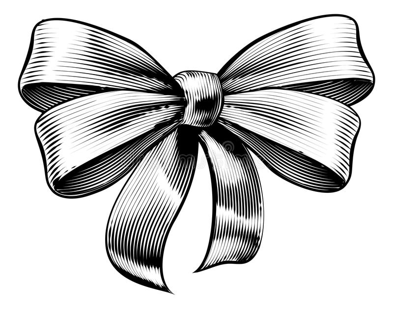 Ribbon Gift Bow Vintage Woodcut Engraved Etching. A bow ribbon gift in a vintage woodcut engraved etching style vector illustration