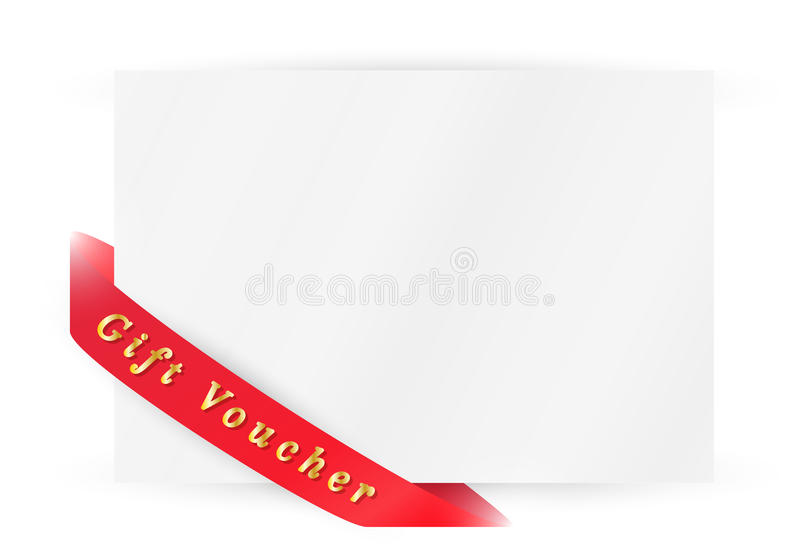 Ribbon with gift voucher vector illustration