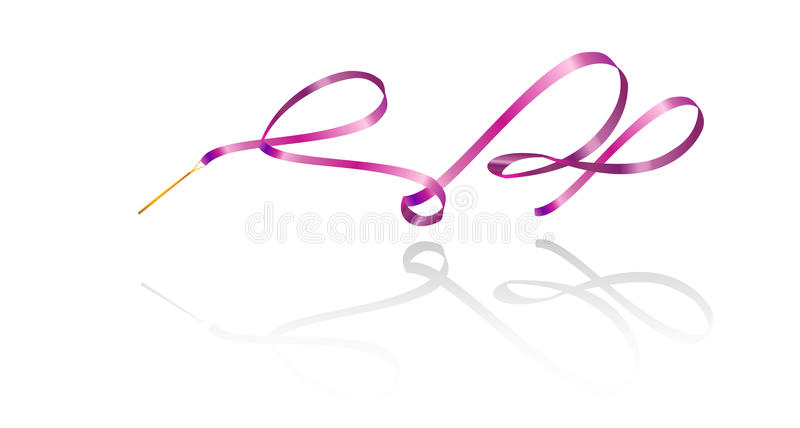 Ribbon Gymnastic. Ribbon. Ribbon gymnastics. Ribbon pink color with shadow on white background. Isolated. Vector illustration. Ribbon rhythmic. Artistic ribbon stock illustration