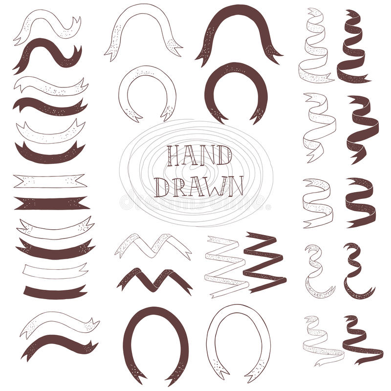 Ribbon hand drawn stock illustration