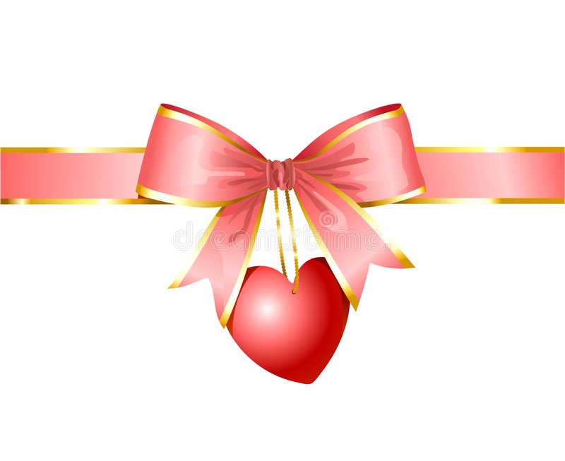 Ribbon and heart / gift of love / vector royalty free illustration