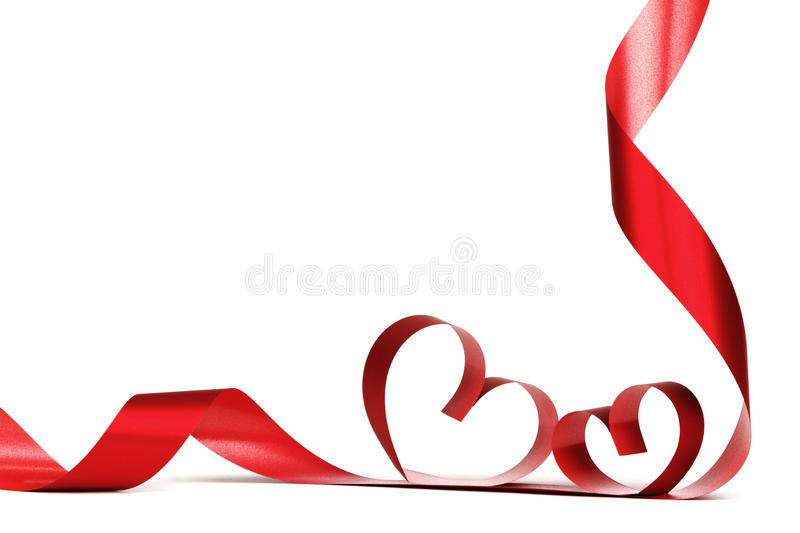 Ribbon hearts frame. Ribbon hearts isolated on white frame, Valentines day design stock images