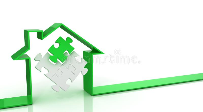Ribbon house 3d, with puzzle inside. Green royalty free illustration