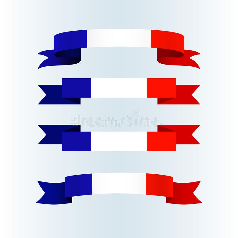 Ribbon icons flag of France on a light background Set Brochure banner layout with wavy lines of French flag ribbons Patriotic vector illustration