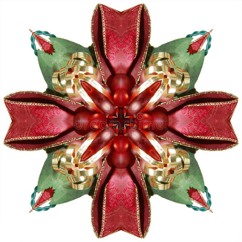 Ribbon Kaleidoscope. Abstract kaleidoscope in christmas colors of red and green stock illustration