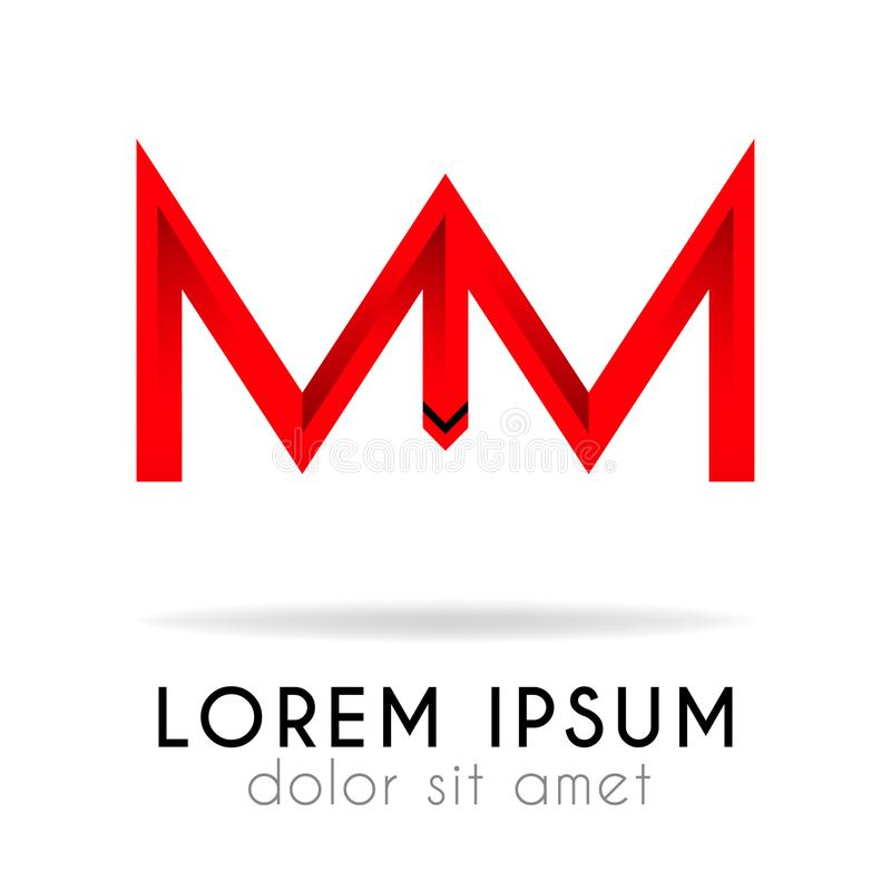 ribbon logo in dark red gradation with MM Letter royalty free illustration