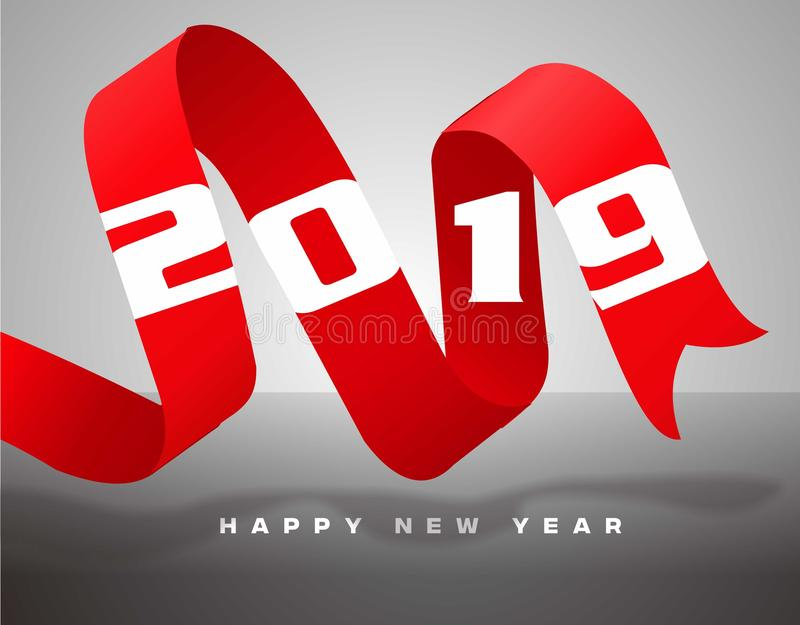 2019 ribbon new year stock photography