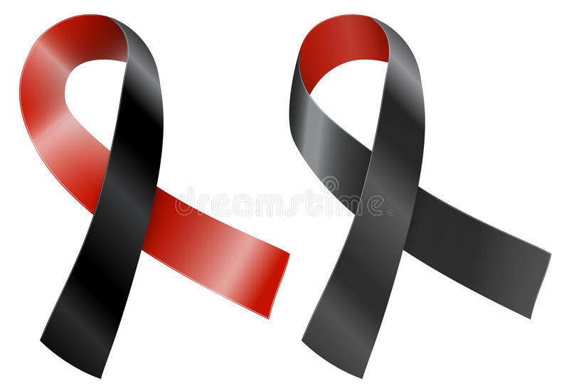 Ribbon. Red and black ribbon. Survivors of Homicide Victims and atheist solidarity awareness symbol. Vector illustration vector illustration