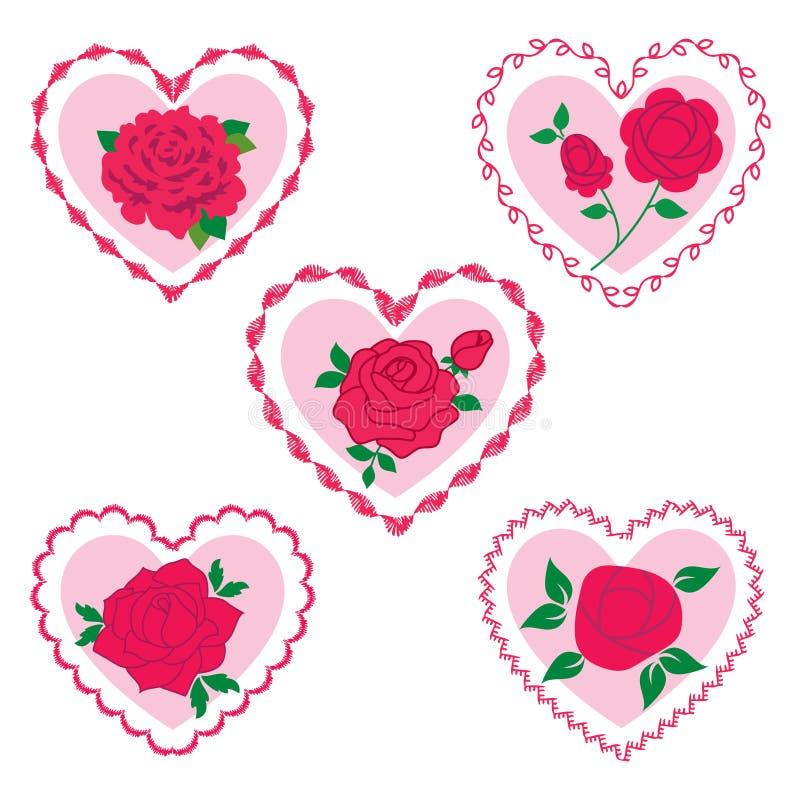 Ribbon rose cluster pattern royalty free illustration