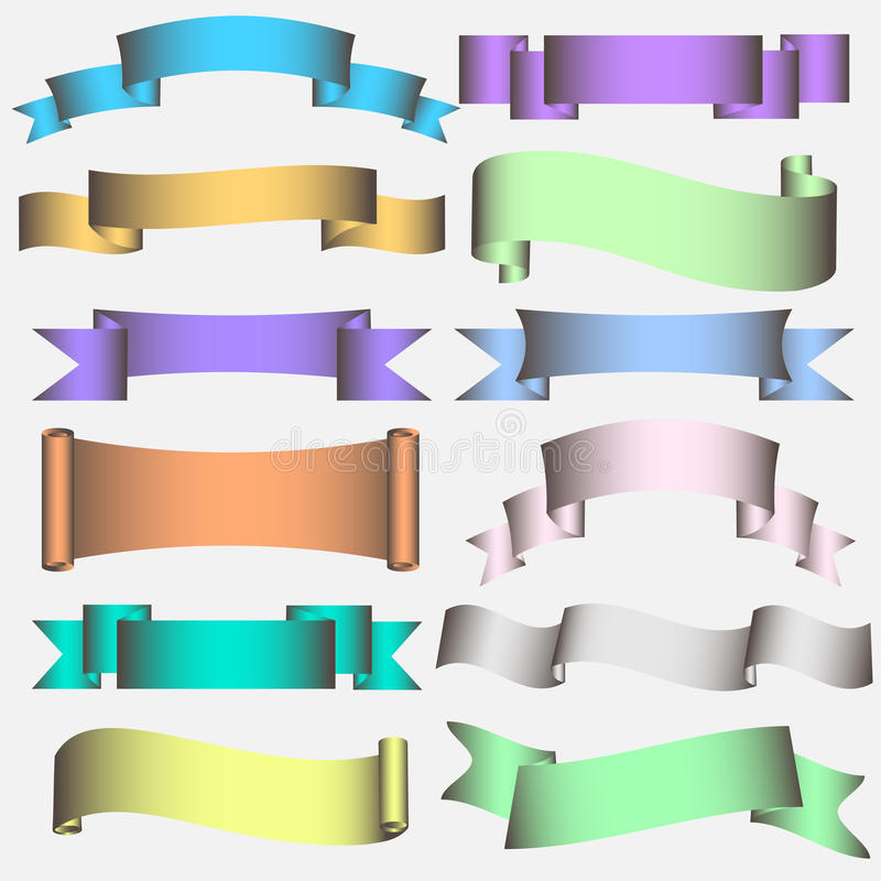Download Ribbon Scroll In Pastel Tones Stock Vector - Image: 24244549