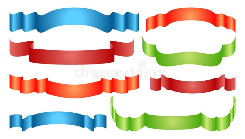 Ribbon set. Collection of ribbons in different colours vector illustration