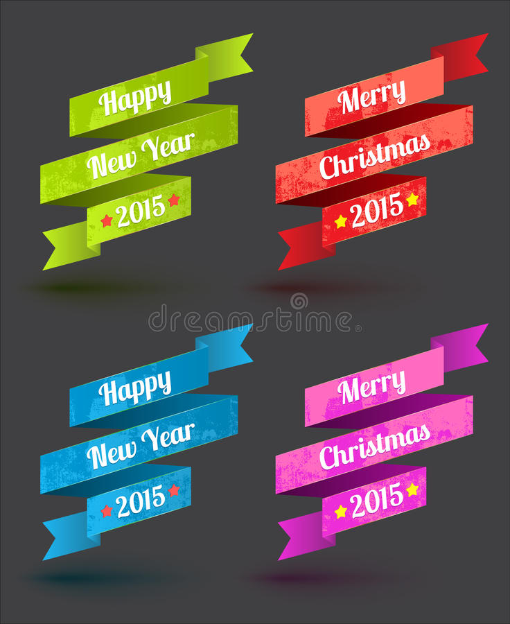 Ribbon set merry christmas and happy new year. vector illustration