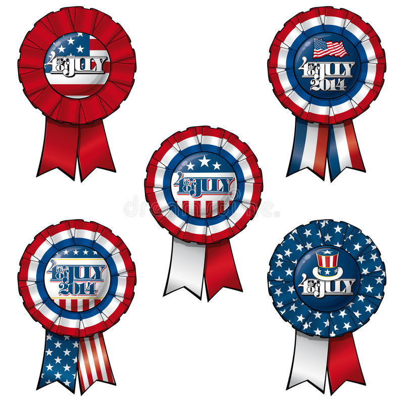 Ribbon 4th of July. Set of 5 interchangeable Ribbons and Buttons on 4th of July. Each of the 5 items on separate layers. In each layer Ribbon and Button are on stock illustration