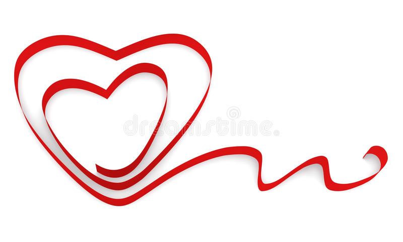 Ribbon Twisted In The Shape Of Two Hearts Royalty Free Stock Images