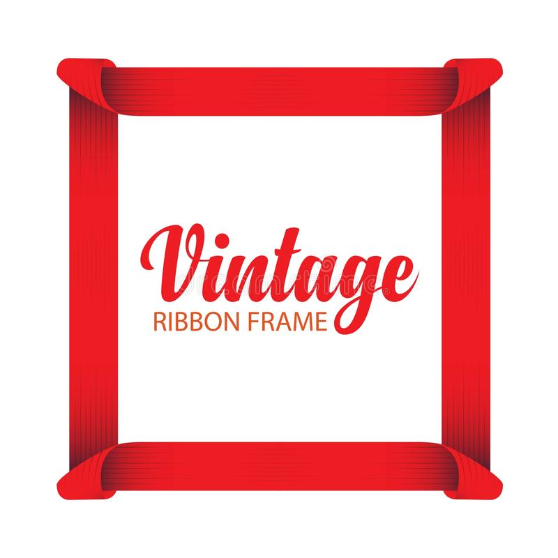 Vintage Ribbon Frame Vector Template Design Illustration. Ribbon vintage vector banner opening illustration badge grand design text retro background ribbons logo vector illustration