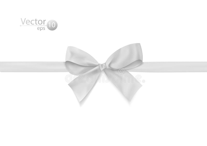 Ribbon with white bow on a white background. stock images