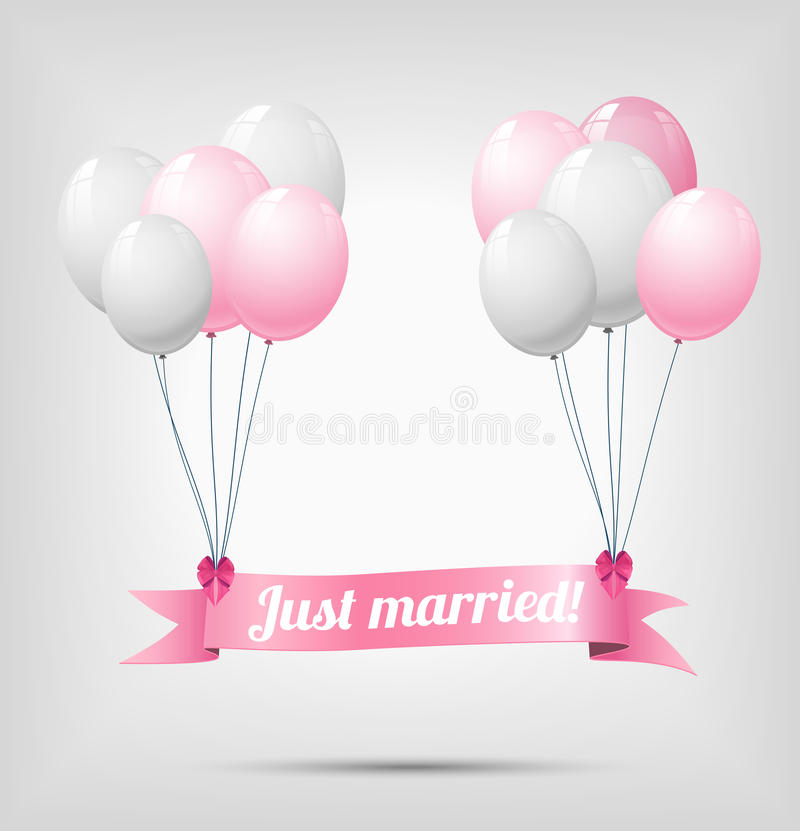 Free Ribbon With Text Just Married And Balloons Stock Photography - 38716972