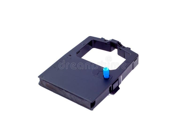 Ribbon7. Black cartridge with ink ribbon on white background royalty free stock photo