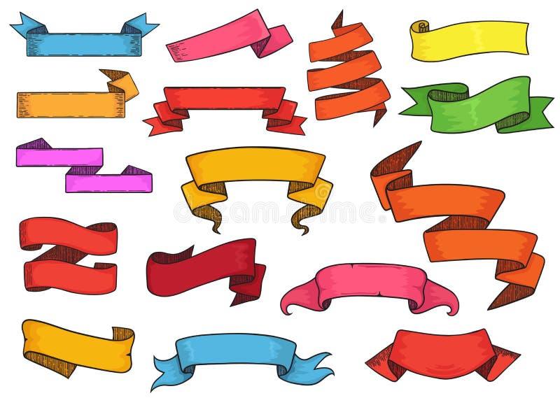 Ribboned beståndsdel för band vektor för baner eller retro tom etikett för garneringillustrationuppsättning av tappningmallen royaltyfri illustrationer