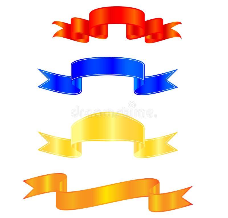 Ribbons. Raster illustration of a colorful ribbon set royalty free illustration