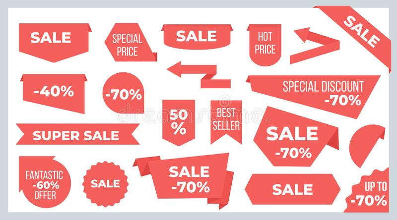 Ribbons and banners. Sale price tags and discount offer stickers graphic design template. Vector ribbon labels royalty free illustration