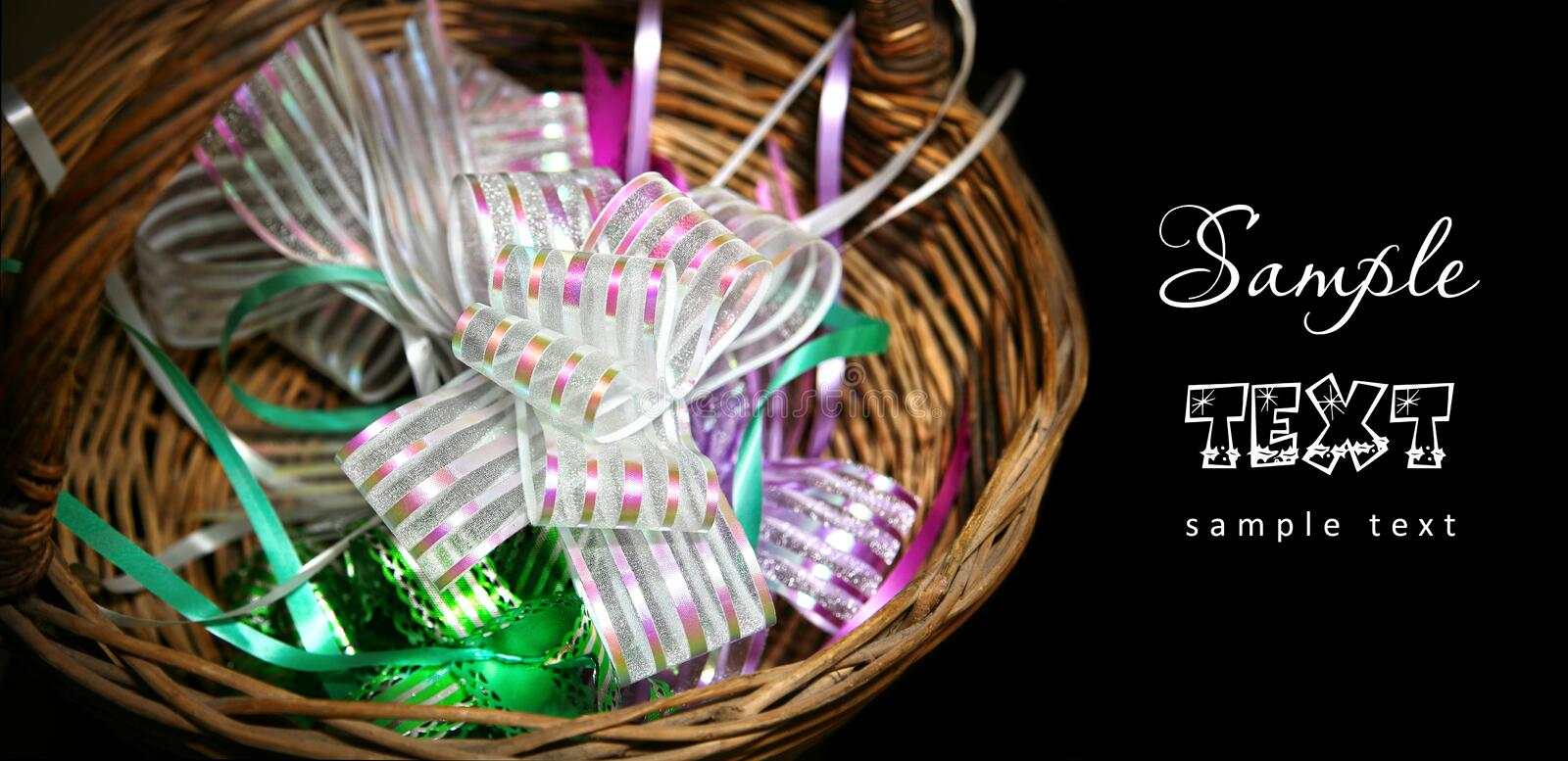 Download Ribbons in basket stock image. Image of glitter, decorate - 22769183