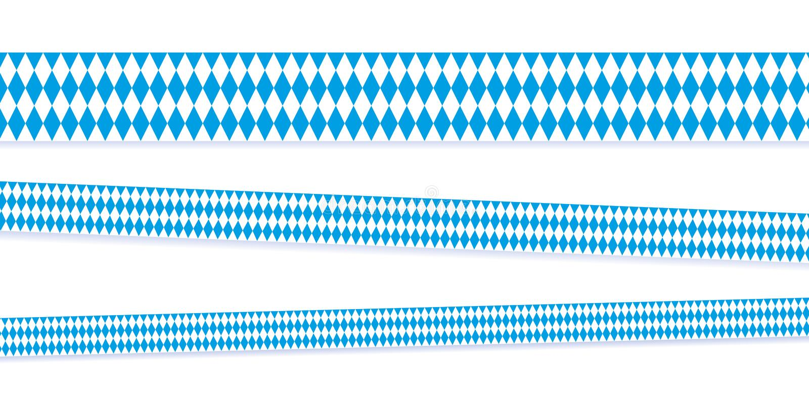 Ribbons in bavarian colors blue and white. Vector illustration EPS10 stock illustration