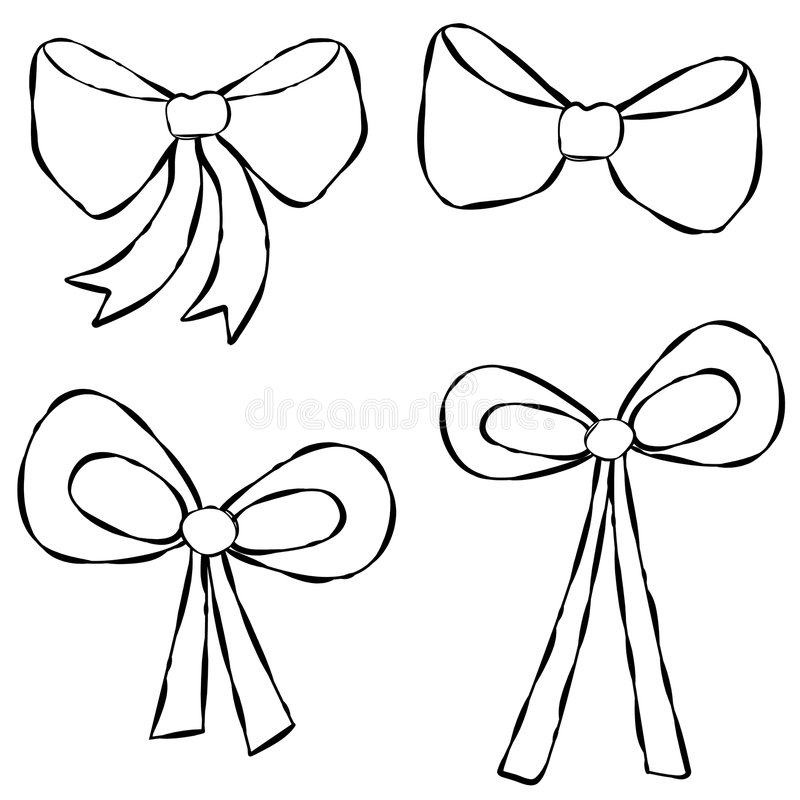 Download Ribbons Bows Line Art stock illustration. Image of clip - 7266690