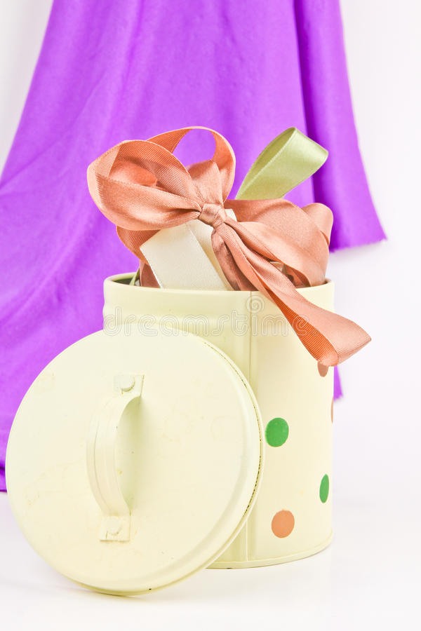 Ribbons for gift wrapping. Close up on white background royalty free stock photography
