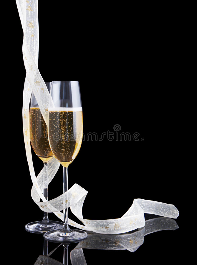 Ribbons and glasses stock images