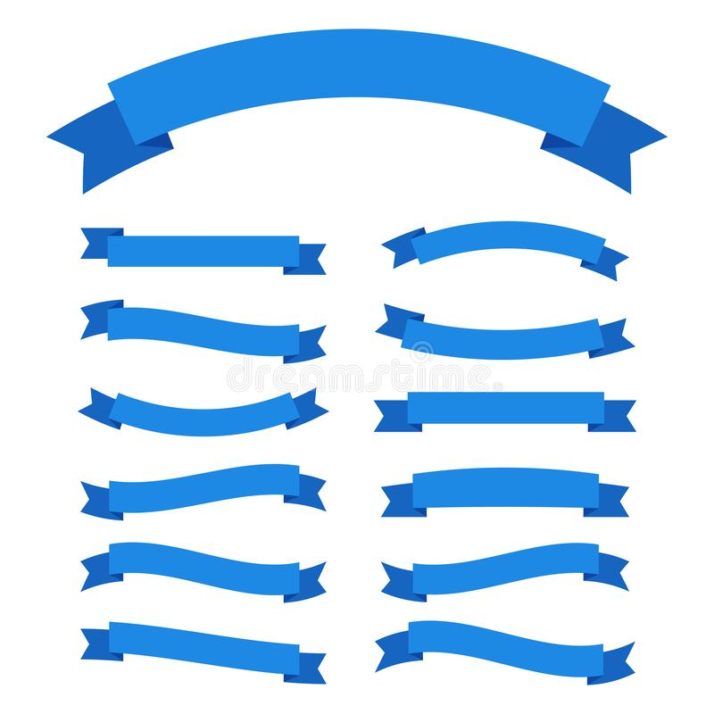 Ribbons icons in blue on a white background. vector illustration royalty free illustration