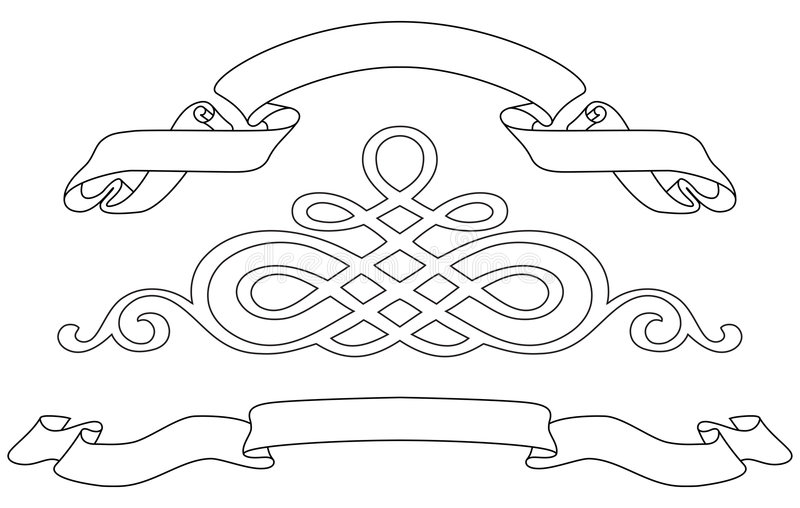 Ribbons and pattern royalty free illustration
