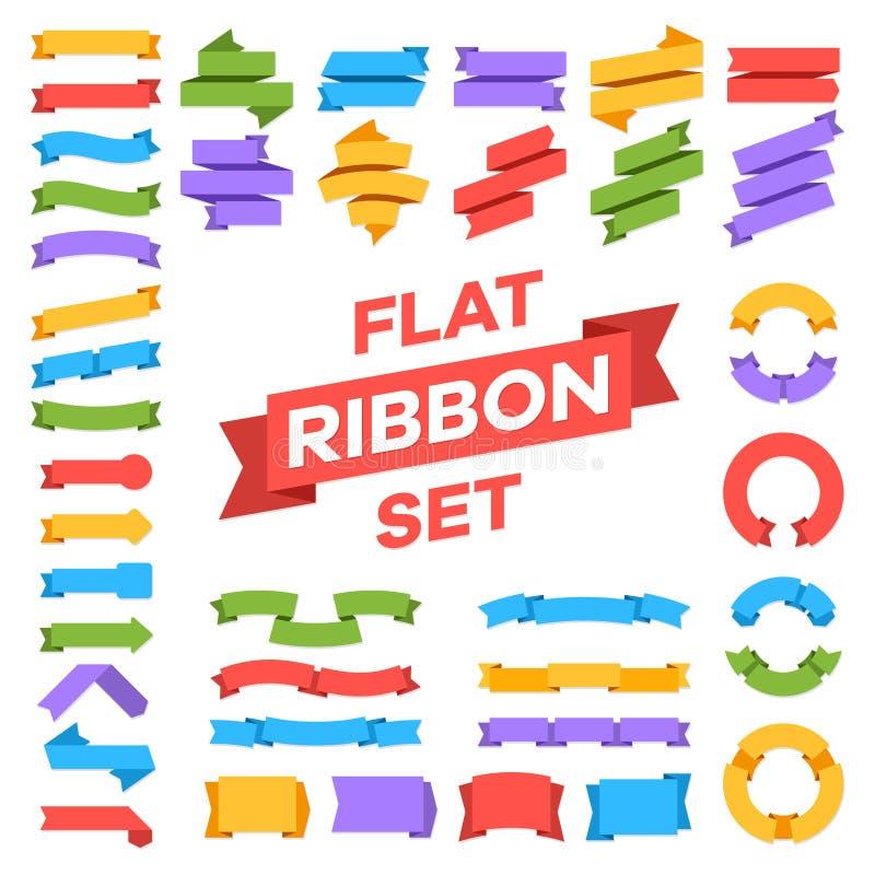 Ribbons set. Banner decoration tags premium label, price retro ribbon, sale sticker badge vector color message symbols stock illustration