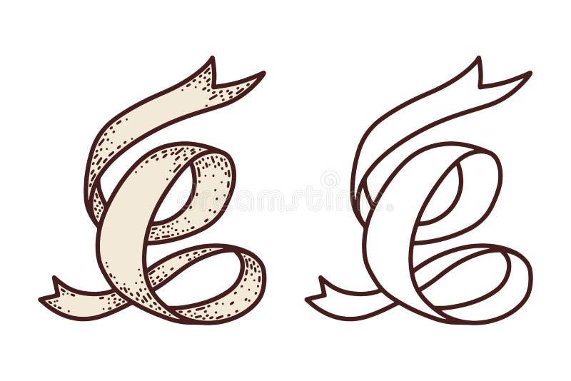 Ribbons vintage isolated on white background. Design element for poster, card, banner. Vector illustration royalty free illustration