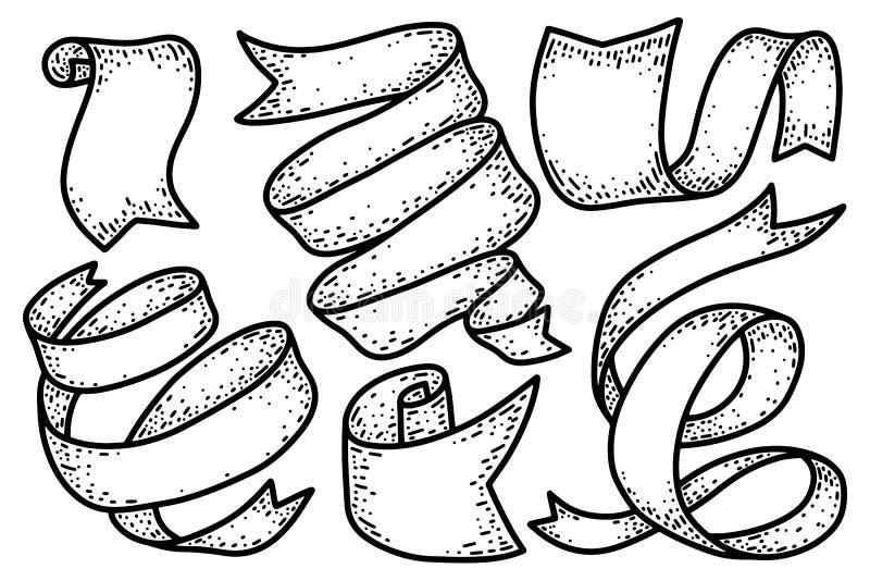 Ribbons vintage isolated on white background. Design element for poster, card, banner. Vector illustration stock illustration