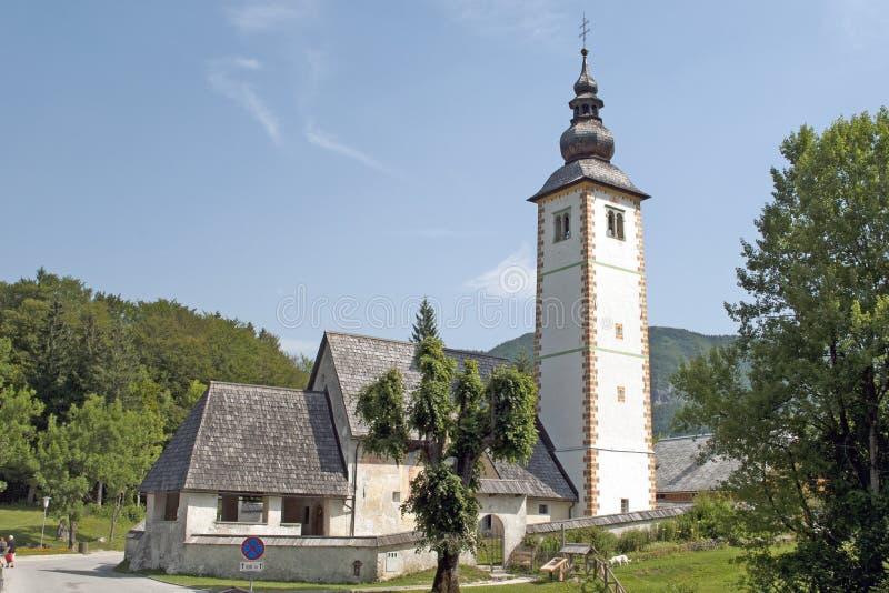 Ribcev的Laz圣徒约翰教会 库存照片