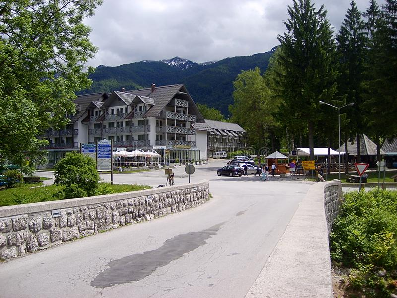 Hotel Jezero near Bohinj lake, Ribcev Laz, Slovenia royalty free stock image