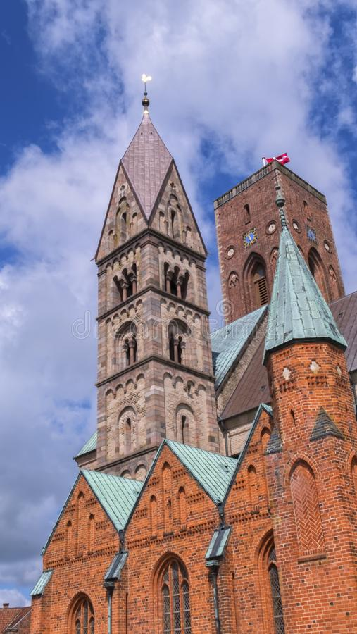 Ribe Cathedral or Our Lady Maria Cathedral, Denmark. Close up on towers of Ribe Cathedral or Our Lady Maria Cathedral, Denmark stock images