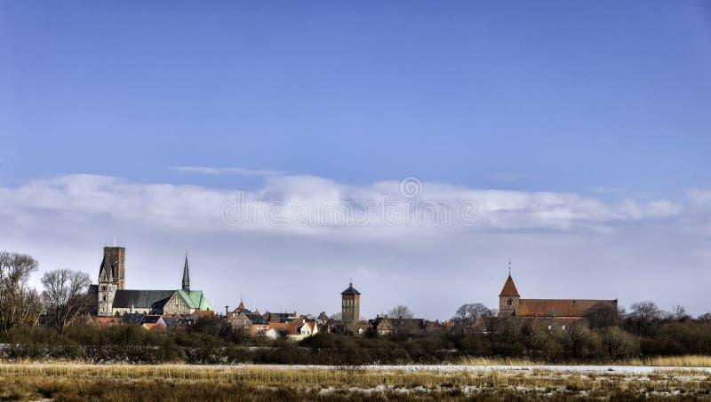 Kathedrale in Ribe, Dänemark gesehen vom Sumpf stockbilder